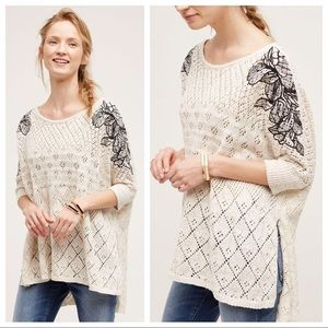 Anthropologie XS S Embroidered Knit Launa Poncho